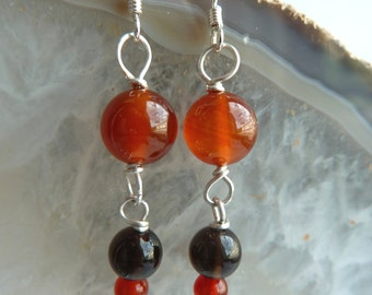 Hand made semi precious Carnelian and Smoky Quartz gemstone bead, and Sterling silver earrings