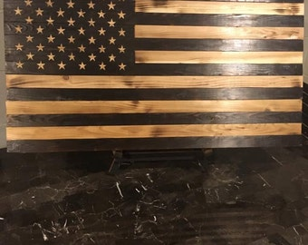 Rustic, burnt wood American Flag