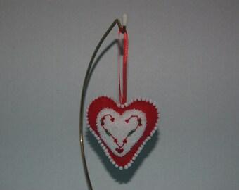 Christmas Ornament, Heart, Wool Blend Felt, Beads/Sequins