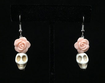 Pink rose day of the dead earrings