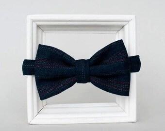 dark blue woolen striped bowtie