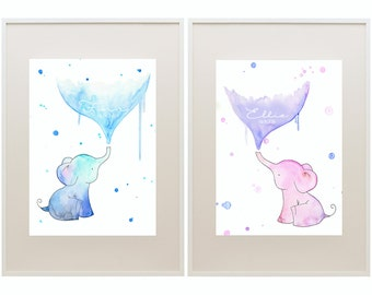 Elephant Kids Art // Nursery Art // 'Oh Baby, Baby!' Baby and Kids Framed Prints // Wall Art // Children