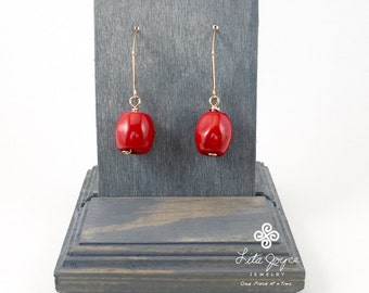 Red Coral Earrings on 14KT Rose Gold Filled Wire