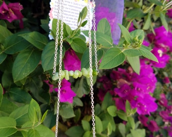 Beautiful Natural Healing Green Quartzite Gemstone Beaded Bar Necklaces with Clasp Closure