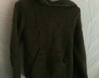 Pea Soup Green Knit Vintage Sweater