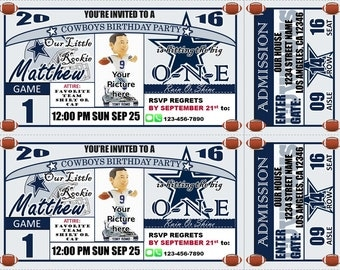 SALE! Dallas Cowboys Themed Birthday Invitation Tickets - Football Birthday Invitations - Personalized and customized