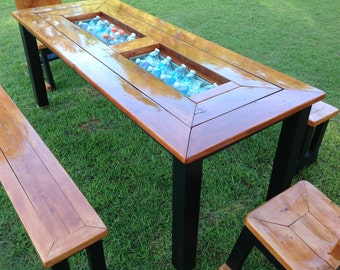 Picnic table with ice chest inserts and benches