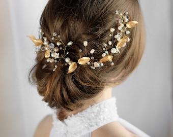 Boho Wedding Gold Hair Vine Wedding Hair Vine Gold Gold Wedding Flower Hair Vine Boho Wedding Headpiece