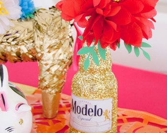 Fiesta Wedding Mexican Beer Glitter Bottles: 6 Pack