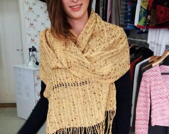 Handwoven shawl, Fall winter women accessories, yellow brown handwoven shawl