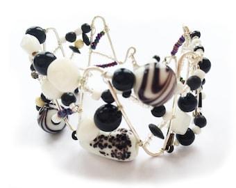 Unique Black and white zig zag bead and wire cuff bangle