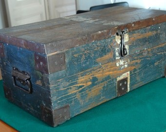 Restored attractive and sturdy big tools wooden box/ chest