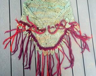 Crochet Lace Shawl - Mint Green Pineapple Lace - Fringed Wrap