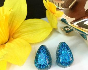 Blue Teardrop Earrings, Gold Teardrop Earrings, Confetti Lucite Earrings, Retro Earrings, Sparkly Earrings