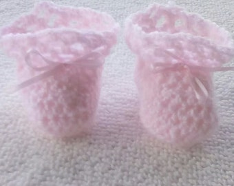 Crocheted Pink Baby Booties