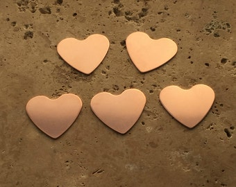 Copper Heart Blanks - 20-Guage Stamping Blanks - Jewelry Making Blanks - Tumbled Blanks - Deburred Copper Heart Blanks - Copper Shapes