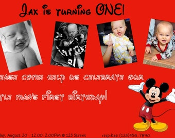 Red Mickey Mouse Invitations with Envelopes