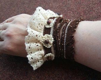 Handmade crocheted wrist cuff with beads (larger size)