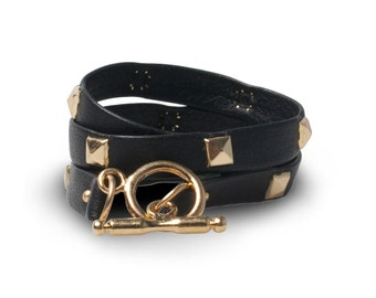 Italian Leather Bracelet with Gold-Plated Hardware | Triple
