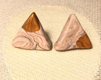 Adorable Imperfection- handmade polymer clay triangle stud earrings, mocha pink/ gold
