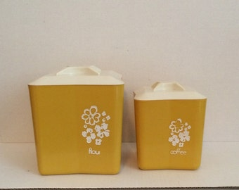 Retro yellow plastic canisters, coffee canister, flour canister, white flowers, vintage canisters