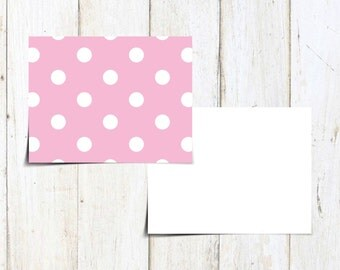 Pink Notecard with White Polka Dots