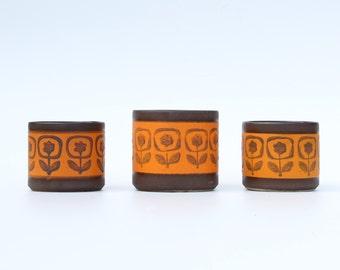 Set of 3 retro flower pots