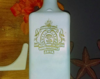 White Tequila Bottle with green accent paint