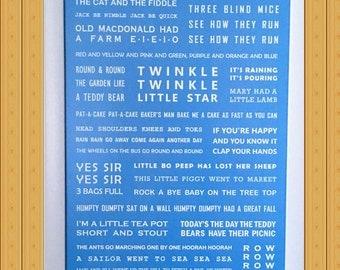 A4 Blue Nursery Rhymes Print for boys, newborns, babies.