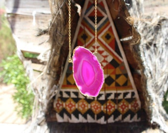 Fuschia Sliced Geode Necklace