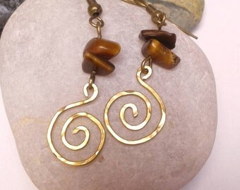 Tiger's Eye and brass spiral earrings