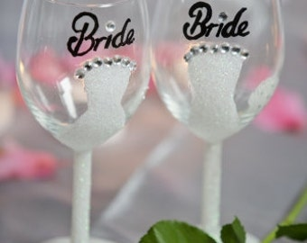 Bride Hand-painted Wine Glasses