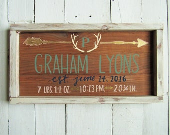 Rustic Birth Announcement Sign