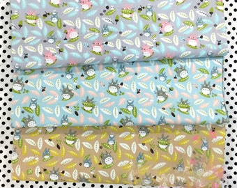 Neighbor Totoro Leaves Printed Twill Cotton Fabric Diy Neddlework Sewing Patchwork Home Textile Tissue For Toy The Clothes Bags 160*50cm
