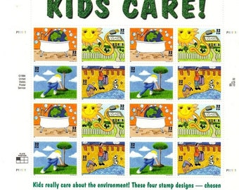 Mint Condition,  Full Sheet, Kids Care,  Set of 16,  32 cent Stamps,  Ready To Ship,  Collectible Stamps, NVH