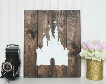 Disney Inspired Cinderella Castle Wooden Wall Decor