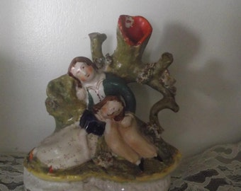 Antique Staffordshire Pottery Spill Vase Circa 1840 Young Lovers