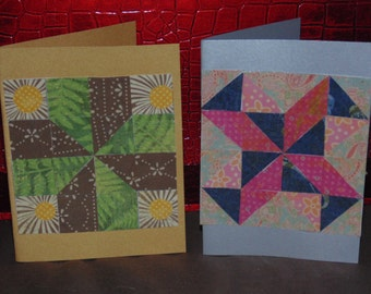 quilt card, paper mosaic card, set of 2 blank notecard