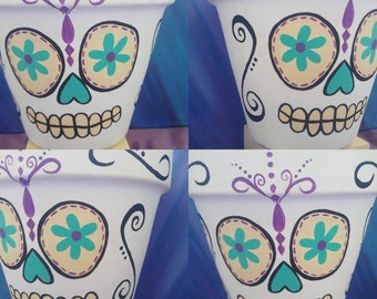 Sugar Skull flower pot//hand painted//garden decor//home decor