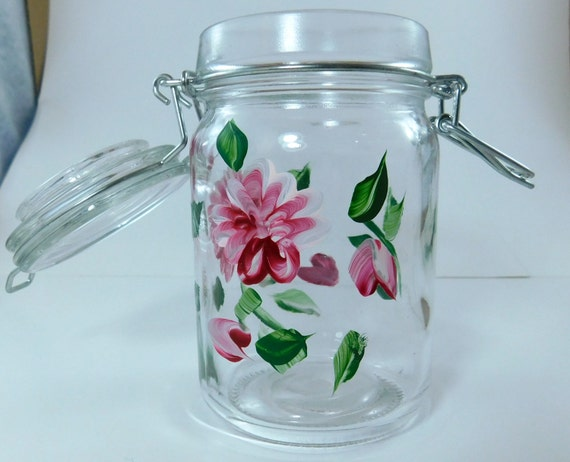 Hand painted glass jar kitchen hand painting glass storage for Glass jar kitchen ideas