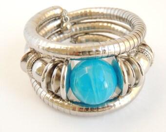 Wrap Around Blue Beaded Bracelet, memory wire bracelet, cuff bracelet, women's bracelet,gifts