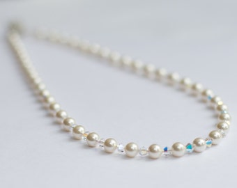 Hannah Bridal Necklace with Swarovski Pearls & AB Crystals