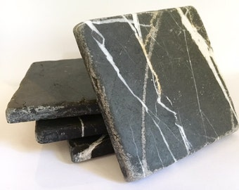 Nero Black Marble Coasters - Set of Four - Free Shipping!
