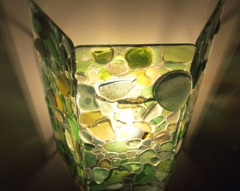 Lamp Applique wall tryptic Seaglass shades of green