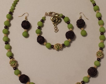 Brown and Green 3 piece Necklace Set