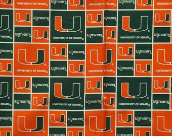 NCAA University of Miami 100% Cotton Fabric by the yard (IST1)