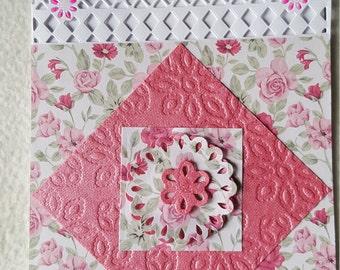 Floral lattice- edged card