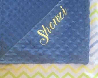 Personalized chevron double minky blanket,  Baby Gift, Nursery Blanket, Toddler Bedding, Nursery Blanket, Crib Bedding