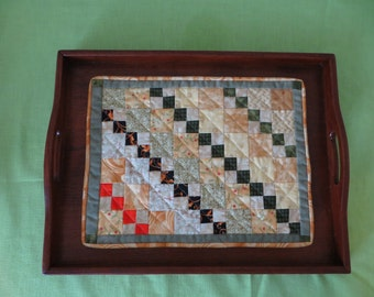 Wooden Tray with Quilted Mat