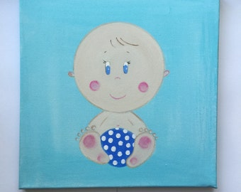 Cute baby boy canvas . A beautiful gift for a new born, christening or naming ceremony. A cute addition to any baby boys room.